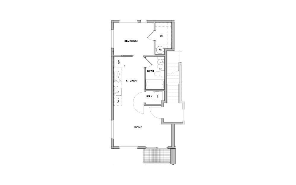 FL - 4 - 1 bedroom floorplan layout with 1 bath and 450 square feet.