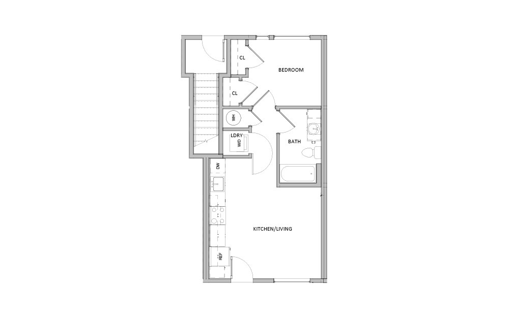 FL - 5 - 1 bedroom floorplan layout with 1 bath and 460 square feet.
