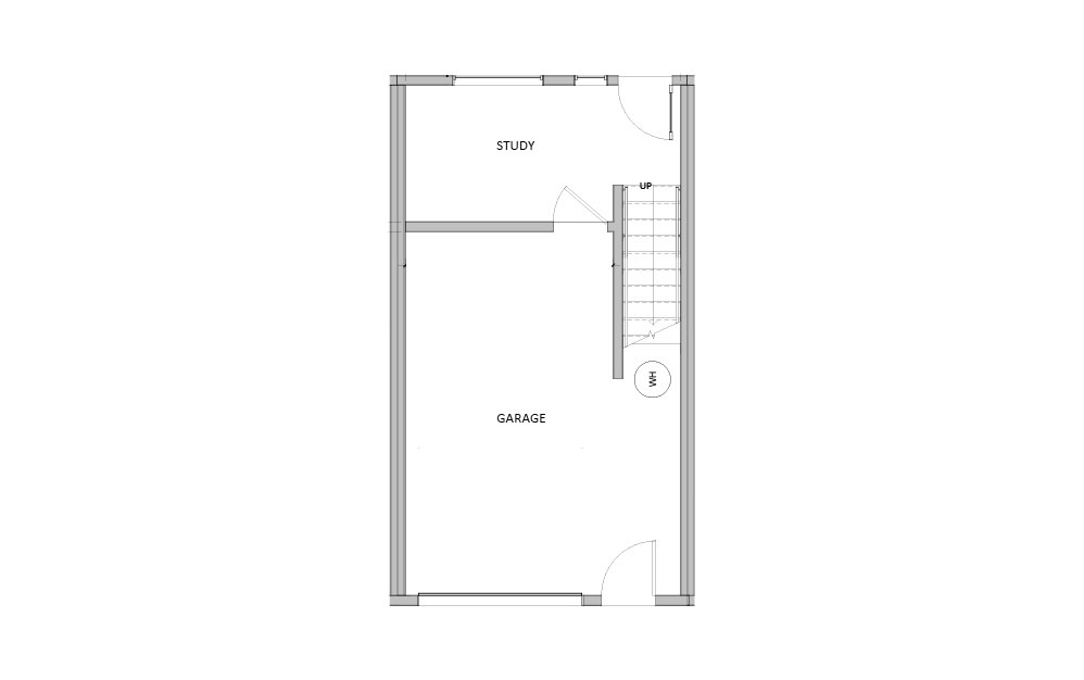 Mid Townhome - 3 bedroom floorplan layout with 3 baths and 1370 square feet. (Floor 1)