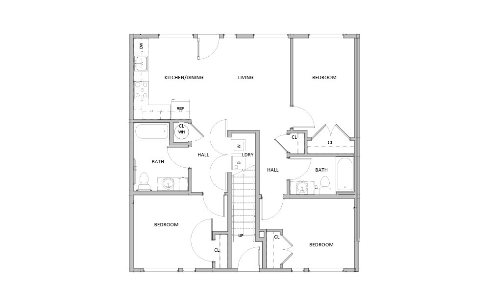 Single Level - 3 bedroom floorplan layout with 2 baths and 1010 square feet.