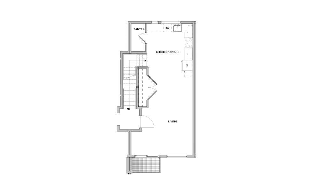 TH - 4 - 2 bedroom floorplan layout with 2 baths and 980 square feet. (Floor 1)